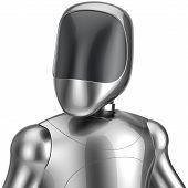 stock photo of cyborg  - Cyborg robot android futuristic chrome bot character portrait avatar concept - JPG
