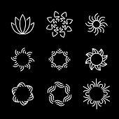 stock photo of monogram  - vector line icon set of flower designs  - JPG