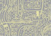 stock photo of tram  - Seamless vector background pattern with streets - JPG