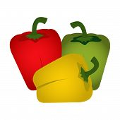 stock photo of yellow-pepper  - Green red and yellow peppers isolated on a white background - JPG