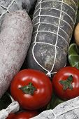 image of refrigerator  - salami sausages and tomato in a refrigerator - JPG