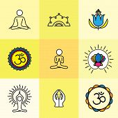 picture of pranayama  - vector yoga icons  - JPG