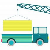 pic of truck-cabin  - Crane putting the load on truck - JPG
