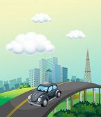 stock photo of car ride  - Classic car ride on the road to the city - JPG