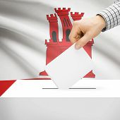 stock photo of gibraltar  - Ballot box with national flag on background series  - JPG