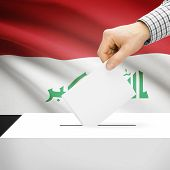 pic of iraq  - Ballot box with national flag on background series  - JPG
