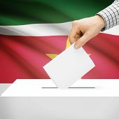 picture of suriname  - Ballot box with national flag on background series  - JPG