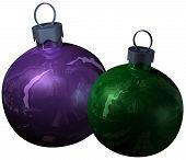 Two christmas shiny balls
