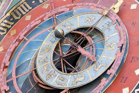 image of zodiac  - Famous Zytglogge zodiacal clock in Bern Switzerland - JPG