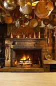 Antique Kitchen With Fireplace