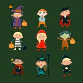 Постер, плакат: Children in Halloween costumes