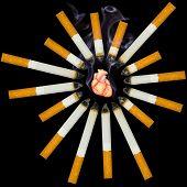 Pequena coração humano sufocar de fumo