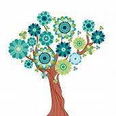 Árvore abstrata feita de flores. Ilustração vetorial