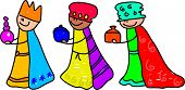 picture of three kings  - happy little kids dressed up as the three kings for the christmas nativity play  - JPG