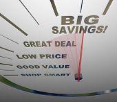 Big Savings - Speedometer Measures How To Save
