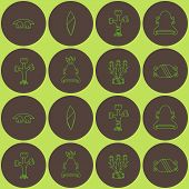 Постер, плакат: Seamless background with American Indians relics dingbats characters