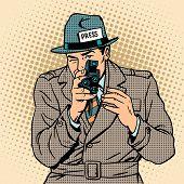 Journalist takes on retro camera. Paparazzi snooping tabloid poster