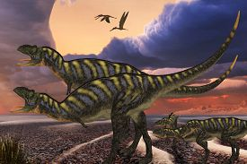 foto of predator  - Parental Aucasaurus dinosaurs defend their youngsters from a passing predator in their territory as Zhenyuanopterus reptile birds fly nearby - JPG