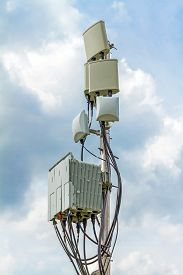 image of antenna  - temporary micro cellular site with outdoor wifi antenna - JPG