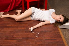 stock photo of overdose  - Crime scene simulation - JPG