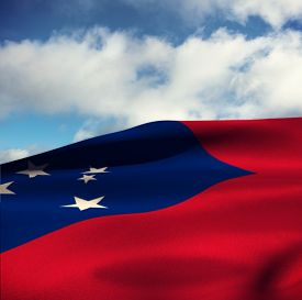 pic of samoa  - Waving flag of Samoa against sky with clouds - JPG