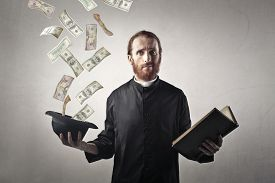 stock photo of priest  - Money from the priest - JPG