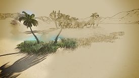 picture of oasis  - Oasis in the desert made in 3d software - JPG