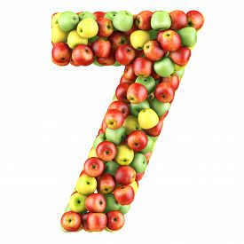 stock photo of number 7  - Number seven made from apples - JPG