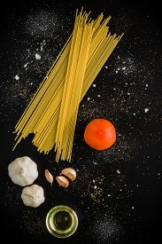 picture of raw materials  - Raw material and ingredient for Italian pasta recipe - JPG