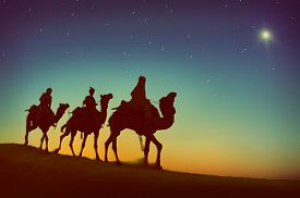 stock photo of wise  - Three Wise Men Camel Travel Desert Bethlehem Concept - JPG