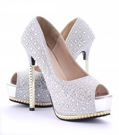 picture of stiletto  - Pair of rhinestone high heel stiletto shoes on white background - JPG