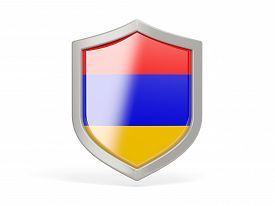 image of armenia  - Shield icon with flag of armenia isolated on white - JPG