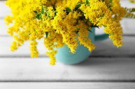 foto of mimosa  - Beautiful mimosa flowers on wooden table - JPG