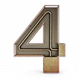 pic of four  - 3d number four 4 symbol with rustic gold metal - JPG