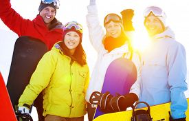 pic of snowboarding  - Snowboarders Extreme Skiing Friends Winter Concept - JPG