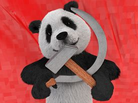 picture of panda bear  - maniacal kind of character in black - JPG