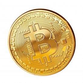 picture of bit coin  - Studio shot of Bitcoin coin on a white background  - JPG
