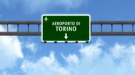stock photo of torino  - Torino Italy Airport Highway Road Sign 3D Illustration - JPG