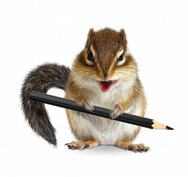 stock photo of laughable  - Funny chipmunk hold pencil on white background - JPG