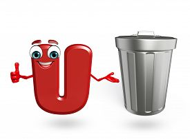 picture of dustbin  - 3d rendered illustration of alphabet U Cartoon Character with dustbin - JPG