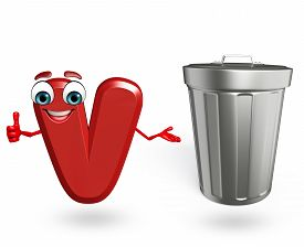 stock photo of dustbin  - 3d rendered illustration of alphabet V Cartoon Character with dustbin - JPG