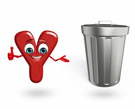 image of dustbin  - 3d rendered illustration of alphabet Y Cartoon Character with dustbin - JPG