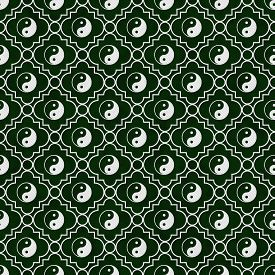 stock photo of yin  - Green and White Yin Yang Tile Pattern Repeat Background that is seamless and repeats - JPG