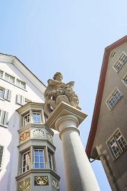 pic of samson  - Fragment of a fountain in Old city of Zurich in Switzerland in summer - JPG