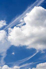 pic of ozone layer  - Blue sky with beautiful clouds and plane stripes - JPG