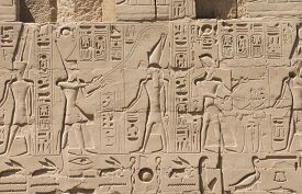 picture of hieroglyphic  - old egypt hieroglyphs carved on the stone - JPG