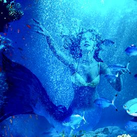 stock photo of undine  - Girl mermaid dive underwater through coral fishes - JPG