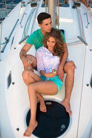 stock photo of yacht  - Love story on a yacht - JPG