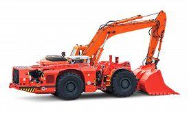 picture of bulldozers  - Big heavy orange industrial hydraulic wheel excavator or bulldozer isolated on white background - JPG