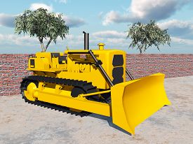 stock photo of bulldozers  - Computer generated 3D illustration with a bulldozer - JPG